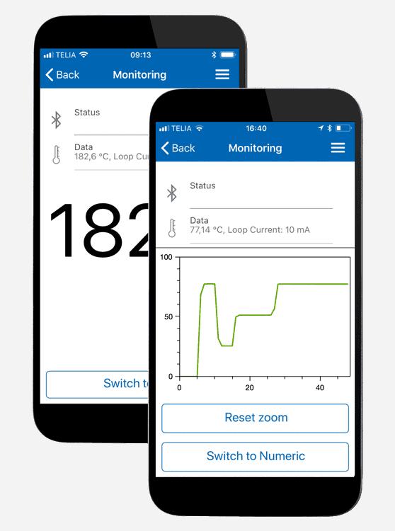 Monitoreringsvy för appen INOR Connect